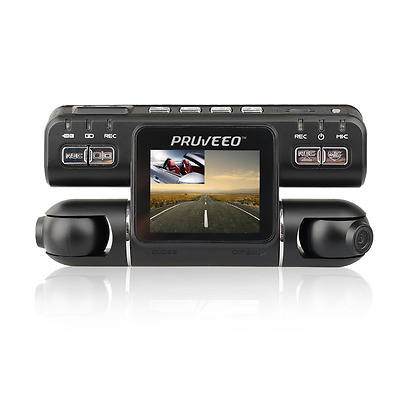 PRUVEEO MX2 Car Dash Cam Dual Lens 240 Degree Wide Angle Dashboard Camera Drivin
