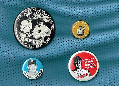Lot Of 4 Vintage/tribute Pinback Babe Ruth Mickey Mantle Hank Aaronted Williams