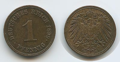 G9614 - Deutsches Reich 1 Pfennig 1899 E KM#10 RAR Germany Empire