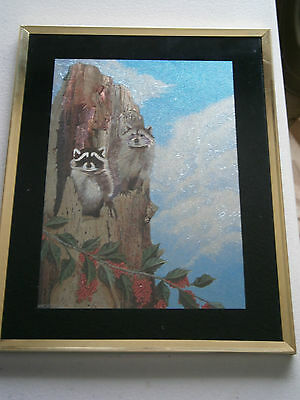 Framed Shiny Foil Picture Print of 2 Raccoons In Hollow Tree Signed by Hachter ?
