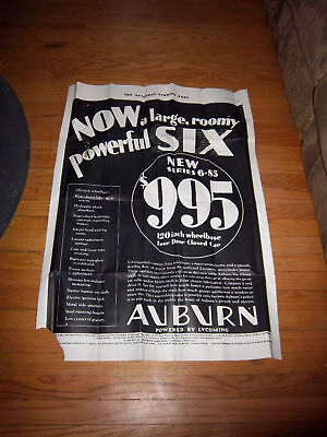 Large 1930 Authentic 38X26 Auburn 6-85 Sat Evening Post Old Vintage Collectible