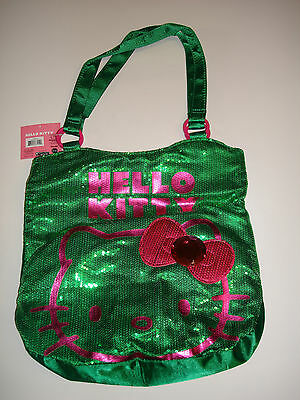 Hello Kitty Sequin Purse Tote Bag With Pink Hello Kitty And Pink Bow With Gem