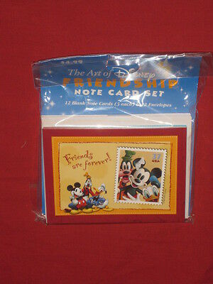 """New The Art of Disney """"Friendship Note Card Set"""" 12 Blank cards 4 designs"""