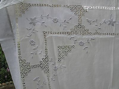 Vintage white on white embroidered square cotton linen tablecloth panel