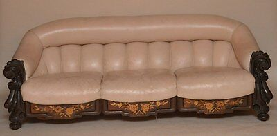 Antique Mahogany Leather Settee , Love seat, or Chaise Lounge (Vintage Style )