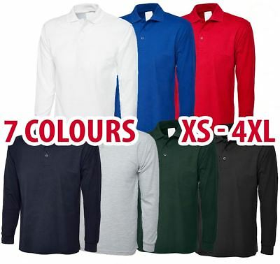 Mens & Womens Long Sleeve POLO SHIRT Plain Top Casual Work Smart Full Sleeve Lot