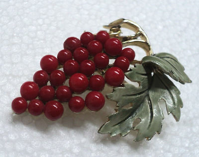 "Vintage Red Grape Bunch Brooch Pin 1960's-70's NOS 2.4"" Estate Find - Excellent"