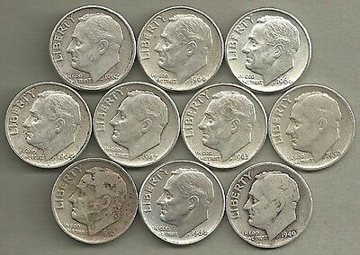 Roosevelt Dimes - US 90% Silver Coin Lot - 10 Circulated Coins