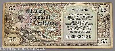 Series 481 $5 U.S. Military Payment Certificate, 1950s Era