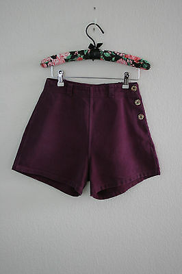 Vintage 50s broderick athletic togs shorts high waist purple pin up side button