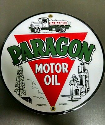 Paragon Gas Oil Porcelain advertising Sign...9""