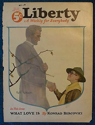 1926 LIBERTY MAGAZINE Cover feat ABRAHAM LINCOLN Shaking Hands With A Boy Scout