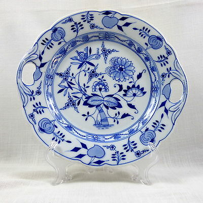 Antique German Blue Onion Handled Small Cake Plate Serving Platter