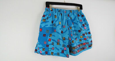 Vintage 80s Speedo blue graphic print swim trunks shorts L
