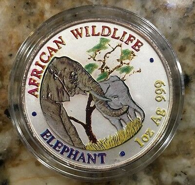 2001 Zambia 1 oz Colorized Silver Elephant BU - perfect coin - very rare