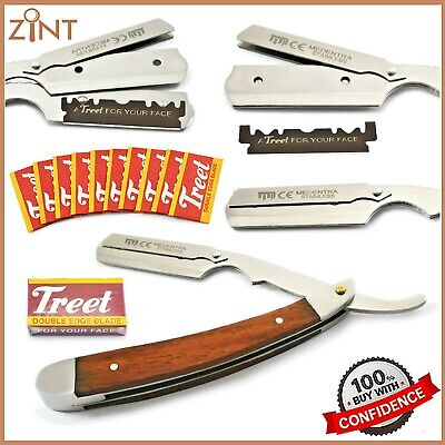 Barber Hair Shaving Straight Edge Folding Knife Wood Handle Razor With 10 Blades