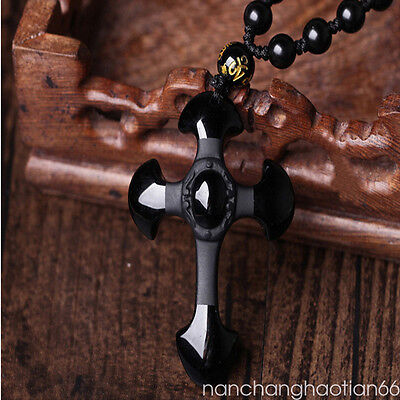 100% Natural Black Obsidian Hand Carved Cross Lucky Pendants free Necklace