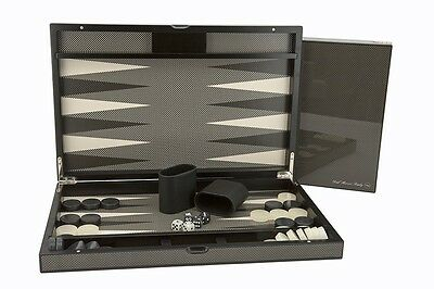 "New Dal Rossi Luxurious Carbon Fibre Finish 15"" 38 cm Backgammon Board game"