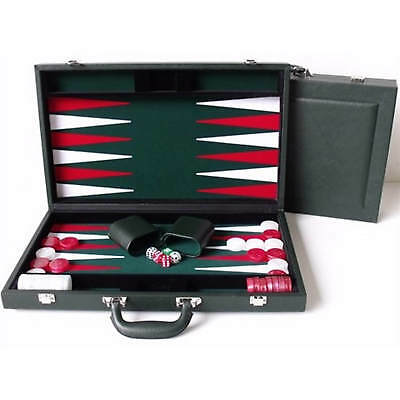 "New Dal Rossi Italy Executive 18"" 45 cm Green PU Leather Backgammon Board game"