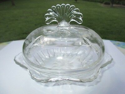 Hughes Cornflower New Martinsville Radiance Glass Domed Cover Candy Butter Dish