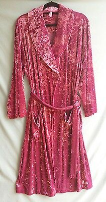 Peter Alexander dusky rose pink crushed velvet ladies dressing gown - size S
