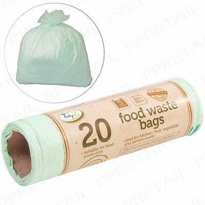BIODEGRADABLE FOOD WASTE BAGS Kitchen Compost Caddy/Bin Liners Compostable 5L