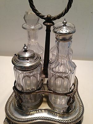 """Antique Silver Plated & Cut Glass Cruet Set Stamped """"EB""""? & Engraved"""