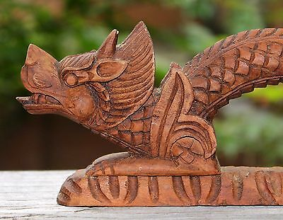 Vintage Carved Dragon Door Pull, Thailand, 10½ Inches Total Length, 1960s