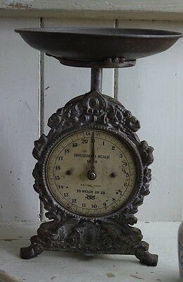 Rare Antique Vintage Victorian English SALTER Cast Iron Weighing Scale & Pan