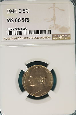 1941-D NGC MS66 5 Full Steps Jefferson Nickel!! #B4067*