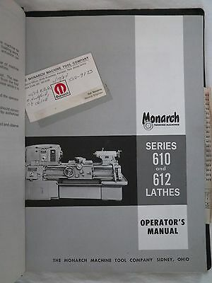 MONARCH Series 610 / 612 Lathes Operators MANUAL and PARTS LIST original