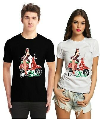 Fathers Day Ciao Bella Vintage Retro Classic Scooter Pin Up Girl Summer T Shirt