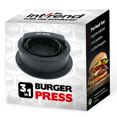 Int!rend | 3 in 1 Burger Press - Hamburger | Burgerpresse | Patty Maker | BBQ