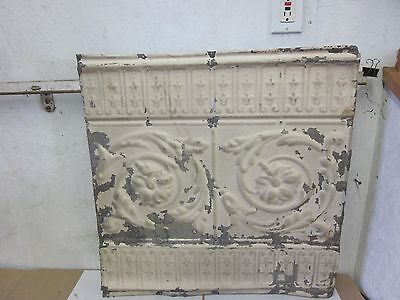 Architectural Old Antique Victorian Salvaged Tin Ceiling Tile 24 x 24 Floral