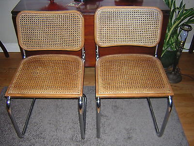 Early Marcel Breuer Cesca Mid Century pair of tubular chrome cane chairs