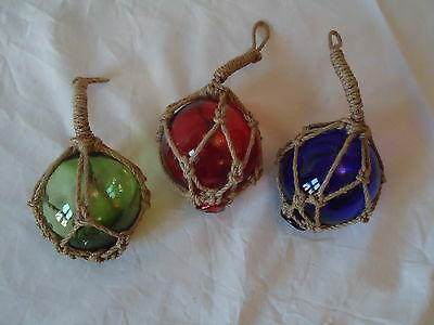 3 Fishing Boat Net Floats Hand Blown Glass Red Blue Green Nautical- Bathroom