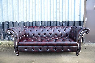 Chesterfield Leather Sofa (OXBLOOD) 3 Seater