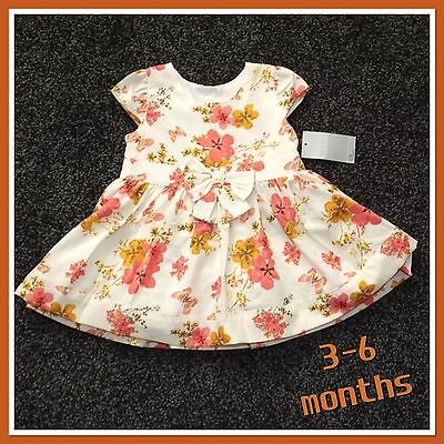 BNWT Baby Girls Cream Floral Bow Summer Party Wedding Dress age 3 - 6 months