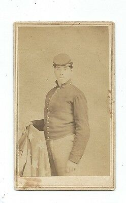 .RARE 1860's CDV of a NY Civil War Soldier with the FLAG