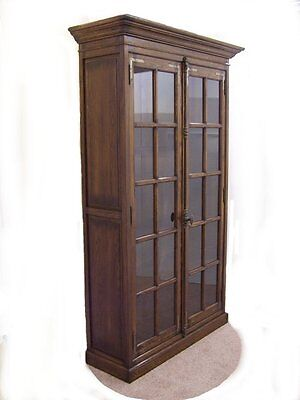 Solid Oak Two Door Bookcase Cabinet **wow**