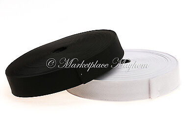 "WOVEN FLAT ELASTIC -BLACK/WHITE - 3/4 1/1.25/1.5/2"" - 19/25/32/38/50mm in 1/2/5M"