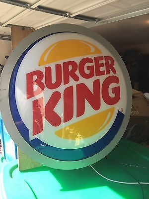 RARE BURGER KING 18 Round  Plastic  SIGN Domed