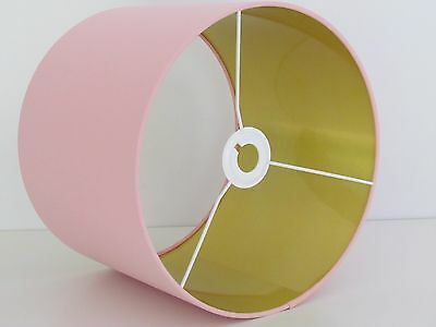 NEW Handmade Pale Pink Brushed Gold Metallic Lined Drum Lampshade Lightshade