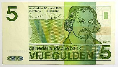 1973 NETHERLANDS 5 GULDEN NOTE P. 95a