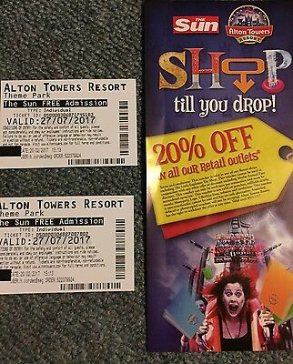 Alton Towers Tickets - * 2 - July 27