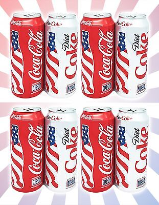 x8 Coca-Cola Diet Coke 2017 NEW LIMITED EDITION American USA USO FULL Cans 16 OZ