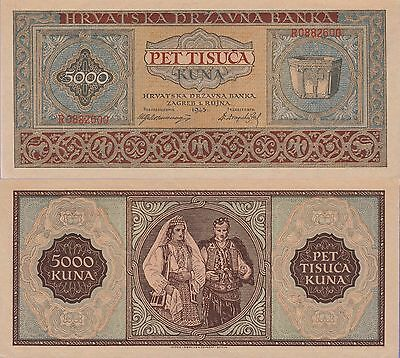 Croatia 5000 Kuna Banknote,1943 Choice About Uncirculated Condition Cat#13-A-600