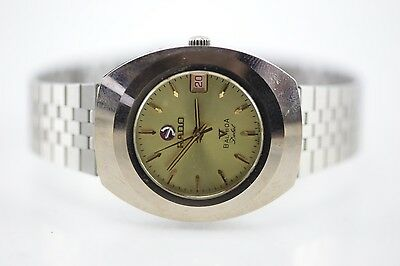 100% Authentic Vintage Rado Balboa V Debut Automatic 25 Jewels Gold Dial Watch