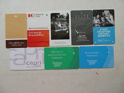 Lot Of 8 Different Hotel Room Key Cards