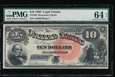AC Fr 106 1880 $10 Legal Tender PMG 64 EPQ RED SPIKED SEAL